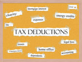 Tax Deductions Corkboard Word Concept — Stock Photo