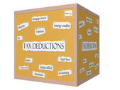 Tax Deductions 3D cube Corkboard Word Concept — Stock Photo