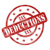 Red Weathered Tax Deduction Stamp Circles and Stars — Stock Photo