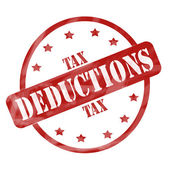Red Weathered Tax Deduction Stamp Circle and Stars — Stock Photo