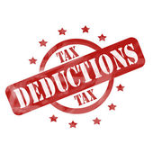 Red Weathered Tax Deduction Stamp Circle and Stars design — Stock Photo