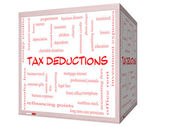 Tax Deductions Word Cloud Concept on a 3D cube Whiteboard — Stock Photo