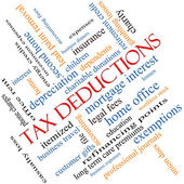 Tax Deductions Word Cloud Concept angled — Stock Photo
