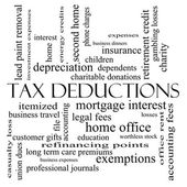 Tax Deductions Word Cloud Concept in black and white — Stock Photo