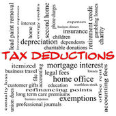 Tax Deductions Word Cloud Concept in red caps — Stock Photo