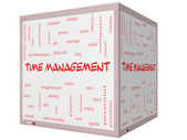 Time Management Word Cloud Concept on a 3D cube Whiteboard — Stock Photo