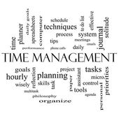 Time Management Word Cloud Concept in black and white — Стоковое фото