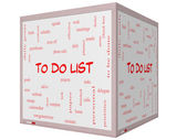 To Do List Word Cloud Concept on a 3D cube Whiteboard — Stock Photo