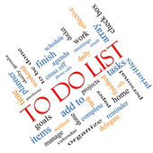 To Do List Word Cloud Concept Angled — Stock Photo