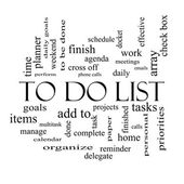 To Do List Word Cloud Concept in black and white — Стоковое фото