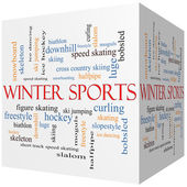 Winter Sports 3D cube Word Cloud Concept — Stock Photo