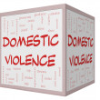 Domestic Violence Word Cloud Concept on 3D cube Whiteboard — Stock Photo #40886513