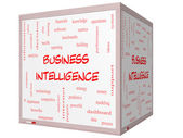 Business Intelligence Word Cloud Concept on a 3D cube Whiteboard — Stock Photo