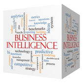 Business Intelligence 3D cube Word Cloud Concept — Stock Photo