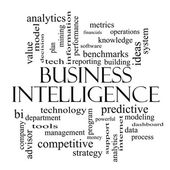 Business Intelligence Word Cloud Concept in black and white — Stock Photo