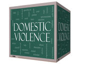 Domestic Violence Word Cloud Concept on a 3D cube Blackboard — Stock Photo