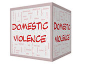 Domestic Violence Word Cloud Concept on a 3D cube Whiteboard — Stock Photo