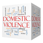Domestic Violence 3D cube Word Cloud Concept — Stock Photo