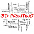3D Printing Word Cloud Concept in red caps — Stock Photo