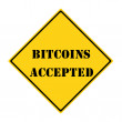 Stock Photo: Bitcoins Accepted Sign