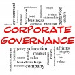 Corporate Governance Word Cloud Concept in red caps — Stock Photo