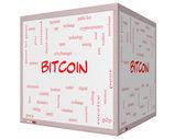 Bitcoin parola concetto nuvola su un 3d cubo lavagna — Foto Stock