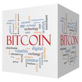 Bitcoin 3D cube Word Cloud Concept — Stock Photo