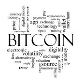 Bitcoin Word Cloud Concept in black and white — Stock Photo