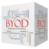 BYOD 3D cube Word Cloud Concept — Stock Photo