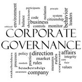 Corporate Governance Word Cloud Concept in black and white — Stock Photo