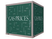 Gas Prices Word Cloud Concept on a 3D cube Blackboard — Stock Photo