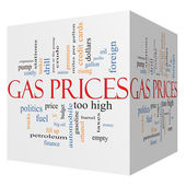 Gas Prices 3D cube Word Cloud Concept — Stock Photo