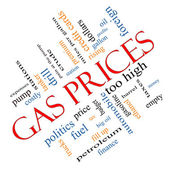 Gas Prices Word Cloud Concept Angled — Stock Photo