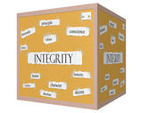 Integrity 3D cube Corkboard Word Concept — Stock Photo