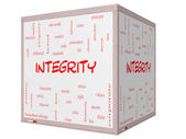 Integrity Word Cloud Concept on a 3D cube Whiteboard — Stock Photo