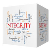 Integrity 3D cube Word Cloud Concept — Stock Photo