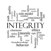 Integrity Word Cloud Concept in black and white — Stock Photo