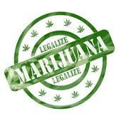 绿色风化合法化大麻邮票界和明星 — 图库照片