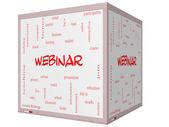 Webinar Word Cloud Concept on a 3D cube Whiteboard — Stock Photo