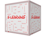 E-Learning Word Cloud Concept on a 3D cube Whiteboard — Stock Photo