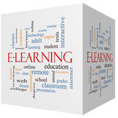 E-Learning 3D cube Word Cloud Concept — Stock Photo