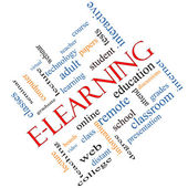 E-Learning Word Cloud Concept Angled — Stock Photo