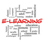 E-Learning Word Cloud Concept in red caps — Stock Photo