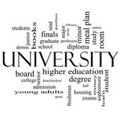University Word Cloud Concept in black and white — Stock Photo