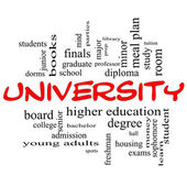 University Word Cloud Concept in red caps — Stock Photo