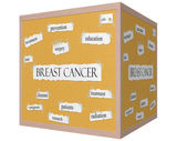 Breast Cancer 3D cube Corkboard Word Concept — Stock Photo