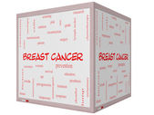 Breast Cancer Word Cloud Concept on a 3D cube Whiteboard — Stock Photo