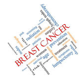 Breast Cancer Word Cloud Concept Angled — Stock Photo