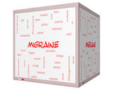 Migraine Word Cloud Concept on a 3D cube Whiteboard — Stock Photo