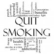 Quit Smoking Word Cloud Concept in black and white — Stock Photo